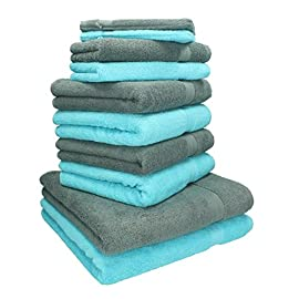 100/% Cotone Asciugamani 34x 78 cm Morbidezza e Assorbente 3 Pezzi d/'Asciugamani per Gli Ospiti Blu, Bianco, Grigio Hotel Home Spa TenMotion Set di Asciugamani Mani