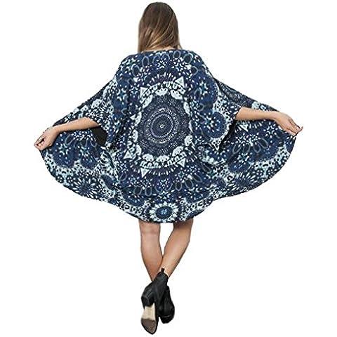 Sannysis Cárdigan mujer, Mujeres gasa Larga Cárdigan Kimono, color azul floral