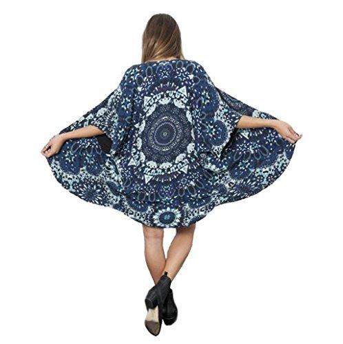 Sannysis Cárdigan mujer, Mujeres gasa Larga Cárdigan Kimono, color azul floral (L)