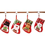 4 Stück Weihnachten Schmuck Weihnachtsstrümpf zum Befüllen und Aufhängen Bestecktaschen Besteckhalter Besteckbeutel Tischdeko Weihnachtsmann Schneemann Rentier Bär Weihnachten Socken.