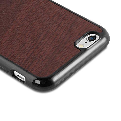 Cadorabo – TPU Ultra Slim Case passend für >            Apple iPhone 6 / 6S            < Silikon Hülle in Holz-Optik und Vintage Design - Cover Schutz-hülle Schale Bumper Handyschale in WOODEN-SCHWARZ WOODEN-KAFFEE