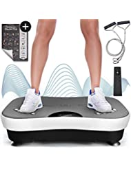 Sportstech Plateforme vibrante VP210 Technologie Oscillation Bluetooth, Zones de réflexologie Plantaire Sangles Cordes de Traction télécommande, Haut-parleurs intégrés Plateforme oscillatoire Massage