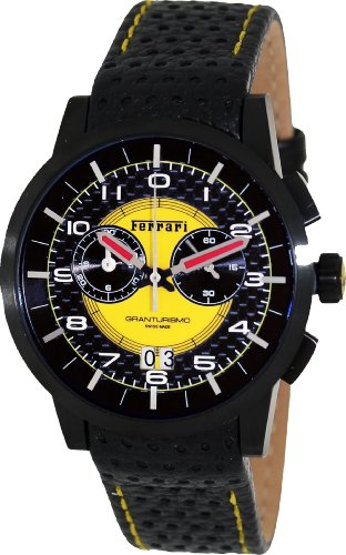 ferrari-mens-fe-11-ipb-cp-yw-black-leather-swiss-chronograph-watch-with-yellow-dial