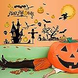 Eizur Halloween Wandaufkleber Wandsticker Kürrbis Hexe Schläger Wanddeko Dekoration Wandtattoos 3D PVC Wandabziehbilder Halloween Props Entfernbare Aufkleber für Kinderzimmer Wohnzimmer Schlafzimmer 60*90cm - TYp 1