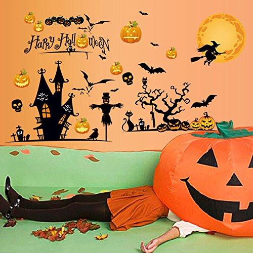 Prop Hexe (Eizur Halloween Wandaufkleber Wandsticker Kürrbis Hexe Schläger Wanddeko Dekoration Wandtattoos 3D PVC Wandabziehbilder Halloween Props Entfernbare Aufkleber für Kinderzimmer Wohnzimmer Schlafzimmer 60*90cm - TYp)