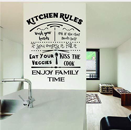 Zybnb Kitchen Rules Decal Esszimmer Wandtattoo Küche Aufkleber Aufkleber Küche Regeln Zeichen My Wash Your Hands Aufkleber Kiss57X63Cm