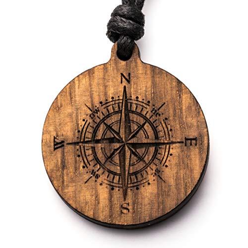 treeforce Kompass Halskette, Schlüsselanhänger oder Auto- Anhänger 3in1 DIY Schmuck aus Kupfereiche