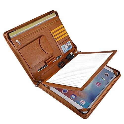 Professionelle Business Leder Organizer Portfolio Fall mit Reißverschluss für iPad Pro 32,8cm (A4) Papier Pocket iPad Pro 12.9 inch braun (3-ring Binder Ipad)