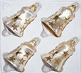 4 TLG. Glas-Glocken Set in Ice Champagner Goldener Stern - Christbaumkugeln - Weihnachtsschmuck-Christbaumschmuck