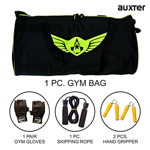 Auxter Gym Bag Kit With 1 Skipping rope + 2 Hand Grip + 1 Pair Gym Gloves