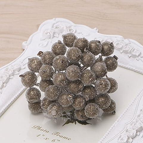 Loegrie 40pcs Mini en mousse de Noël Givré Fruits Artificielles houx Fleur Home Decor