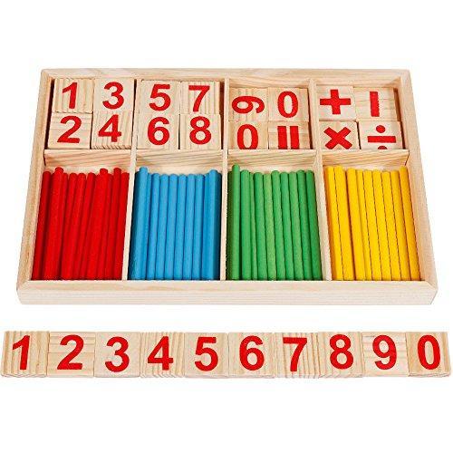 Anpro 72PCS Jouet de Calcul Mathématique Bébé Jouet Educatif En Bois Stick Bâton Chiffres Mathématique Education Maternelle Pour Bébé, Enfant Plus de 3 Ans