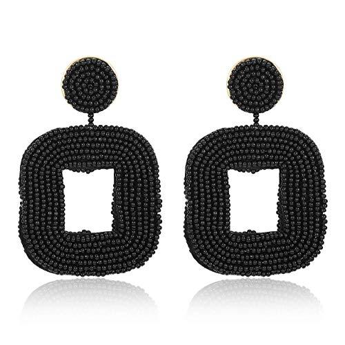 CUHAWUDBA Perlen Ohrringe B?hmischen Draht Gewickelt Perlen Quadratischer Reifen Baumeln Anweisung Ohrringe Schwarz
