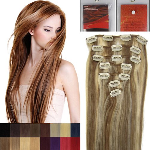 38,1 cm 7 Clip dans Remy extensions de cheveux humains Couleur 12/613 brun clair mélangé avec Blond Clair en Salon de beauté femme Accessoires 70 g avec clips chaque lot
