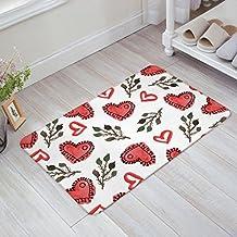 Painted Red Hearts Green Branches Leaves Print Doormat Welcome Mat Entrance Mat Indoor/Outdoor Door Mats Floor Mat Bath Mat