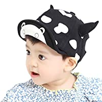LONTG Baby Boys Girls Baseball Cap Peaked Cap Snapback Cap Sunhat Cute Cows Horn Hat Cap Sports Hat with Visor Embroidered Brim Dots Adjustable for Infant Kids Toddler 6-24 Months (18-19inch)
