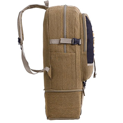 Freizeit Reise Umhängetasche Falt Leinwand Multifunktions Bergsteigen Tasche Outdoor Sport Rucksack coffee