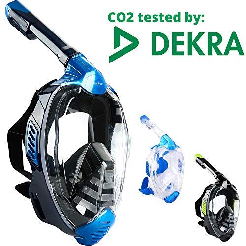 Khroom Masque intégral CO2 Safe Snorkel Mask 2019 - Masque de plongée Seaview X pour Adultes et Enfants. (L/XL, Bleu)