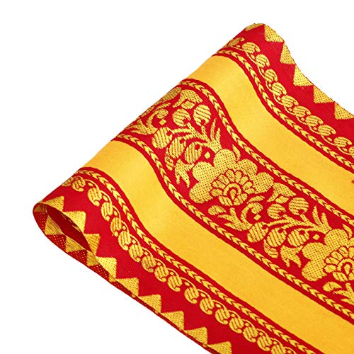 Neotrims 15.5cm Wide,Vibrant Floral Indian Decorative Border Satin Saree Trim Ribbon By The Yard. Stunning Golden & Red Sateen Weave with Metallic Gold Traditional Indian Jacquard; The Golden Amritsar Trim. Great Price Limited Edition Exclusive. - Satin Ribbon Trim