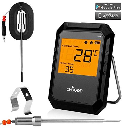 Fleischthermometer  Bluetooth Thermometer Bratenthermometer 6 sonde Ofenthermometer  Grill Intelligente  mit Easy BBQ App IPhone iPad iOS und Android-kompatibel von WEINAS(2 Sonden erhalten)