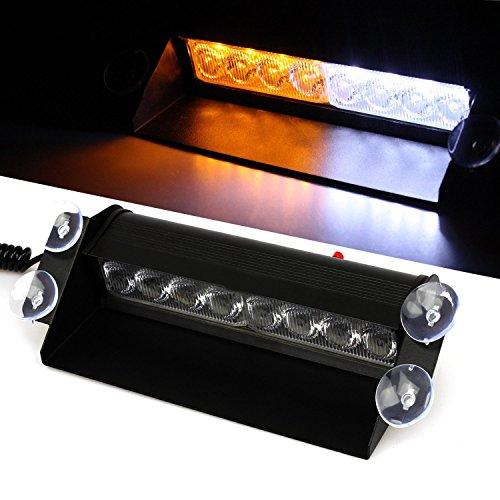 Weiße Blitzleuchten Blaue Und (Linchview 8 LED Sauger Licht Blitzlicht mit 3 Arten von Modi Blitzleuchten für Zigaretten Stecker für Front Dash / Windschutzscheibe/ Deck und Heckscheibe Strobe Light Bar Beacon Blau / Rot / Rot Blau Farbe (Gelb+Weiss))