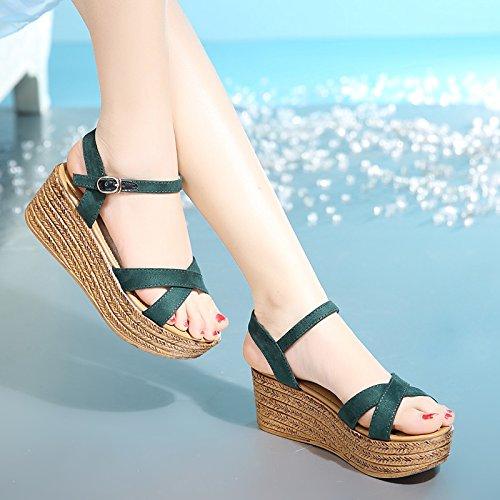 DGSA Sommer fischen Düse mit Frauen Schuhe Sandalen Hang koreanische Edition dicke Schuhe Schuhe die Plattform die high-heel Schuhe Grün