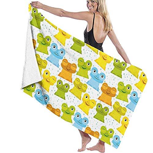 Hondoes-Bath/Bench Towel Niedliche Cartoon lustige Frosch Mikrofaser Handtuch leichte Strand Badetücher schnell trocken, tragbar für Schwimmen, Yoga, Bank, Sport, Reisen [80x130cm] -