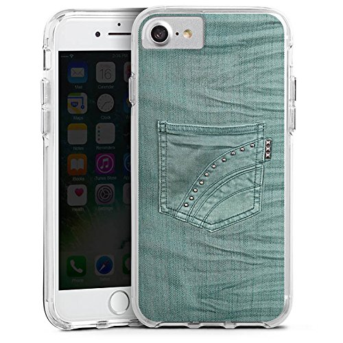 Apple iPhone 6s Bumper Hülle Bumper Case Glitzer Hülle Jeans Look Hose Fashion Bumper Case transparent