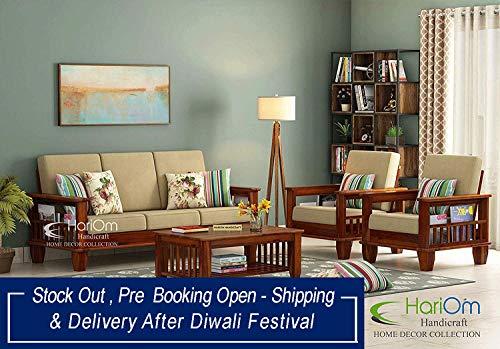 Hariom Handicraft Solid Sheesham Wood Sofa Set | Wooden Sofa Set | Living Room Furniture (3+1+1, Brown)