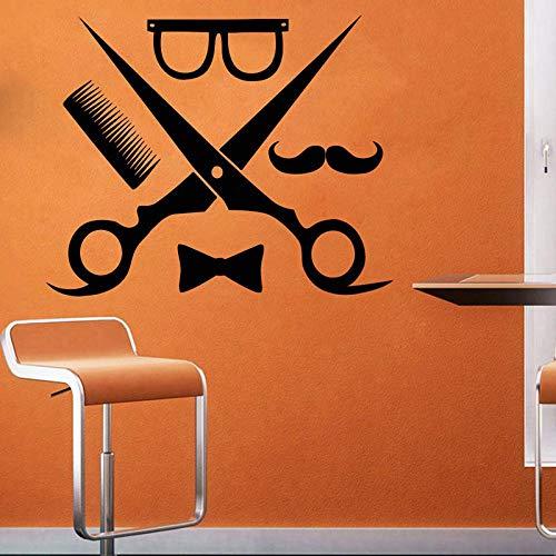 Mann BarberShop Wand Fenster Aufkleber Männlichen Friseursalon Haarschnitt Bart Gesicht Salon Vinyl Aufkleber Frisur Schere Werkzeuge Aufkleber 42 * 52 cm
