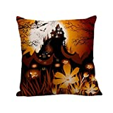 SEWORLD Happy Halloween Kissenbezüge Leinen Sofa Kissenbezug Home Decor B