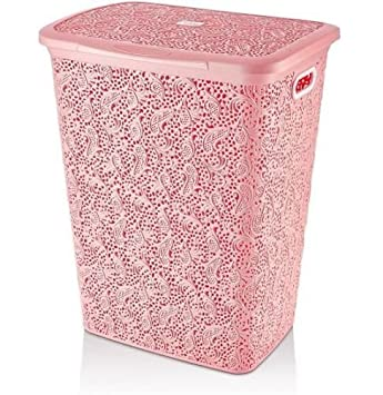 Large 57 Litre Plastic Lace Laundry Basket Washing Clothes Storage Hamper  Box (Pink): Amazon.co.uk: Kitchen U0026 Home