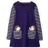 VIKITA Mädchen Baumwolle Langarm Streifen Tiere T-Shirt Kleid JM7667 2T