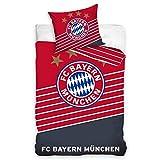 FC Bayern München Offizielles (Bundesliga) Einzelbett-Bettbezug-Set mit Kissenbezug, wendbar, 100% Baumwolle