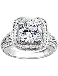 Silvernshine 2.19 Carat White Cubic Zirconia Diamond Sterling Silver 925 Plated Wedding Engagement Ring
