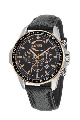 Just Cavalli Unisex Watch R7271693125 In Collection Actually with Chronograph, Black Dial and Strap