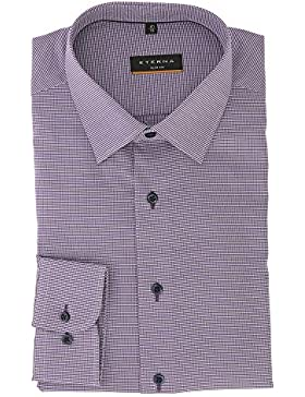 ETERNA long sleeve Shirt SLIM FIT structured purple / lilac 15 3/4 super long (72 cm)