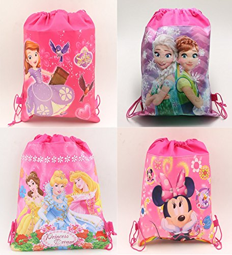 Gifts Online Cartoon Printed Kids Pack of 12 Haversack - Birthday Party Return Gift (Girls)