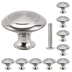 Librao 10pcs Cabinet Door Knobs Round Mushroom Shape Pull Handle Stainless Steel Brushed 30mm for Drawer Door Cupboard Wardrobe