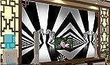HONGYAUNZHANG Schwarz-Weiß-Geometrie Benutzerdefinierte Fototapete 3D Stereoskopische Wandbild Wohnzimmer Schlafzimmer Sofa Hintergrund Wandbilder,290Cm (H) X 370Cm (W)