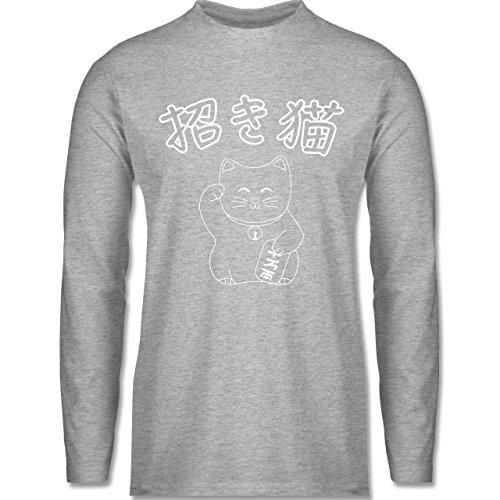 Shirtracer Katzen - Winkekatze- Japanisch - Herren Langarmshirt Grau Meliert