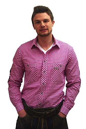 Klassisches kariertes Trachtenhemd Hemd in modischer Farbe Beere