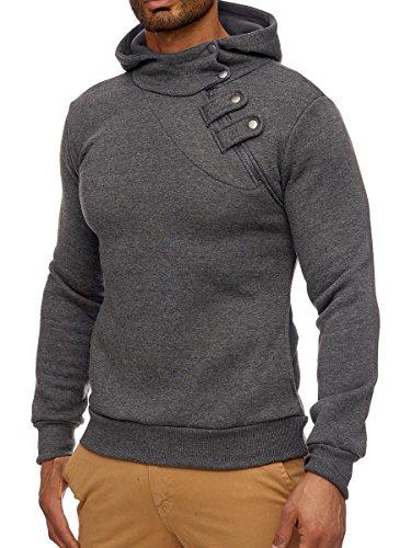 L.A.B 1928 Herren Kapuzenpullover Hoodie Kapuzen Pullover Slim Fit LAB-3026 Anthrazit