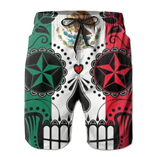 LarissaHi Junge schnell trocknend mexikanische Flagge Zucker Schädel Strand Shorts Badehose Surf Board Shorts L