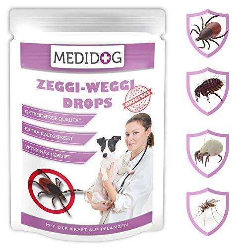 Medidog Zeggi Weggi 150g Premium Schutz Drops, Kaltgepresst und Getreidefrei, mit Schwarzkümmelöl, Kokosöl und Zistrose kompatibel mit Zeckenzange, Zeckenkarte, Zeckenschlinge, Zeckenhalsband