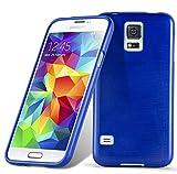 Cadorabo DE-104644 Samsung Galaxy S5 / S5 NEO (G900F) Handyhülle aus TPU Silikon in gebürsteter Edelstahloptik (Brushed) Blau