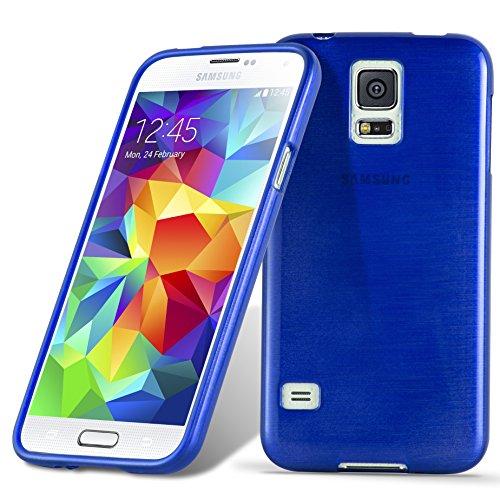 Cadorabo Custodia per Samsung Galaxy S5 / S5 Neo in Blu Marina - Morbida Cover Protettiva Sottile di Silicone TPU con Bordo Protezione - Ultra Slim Case Antiurto Gel Back Bumper Guscio