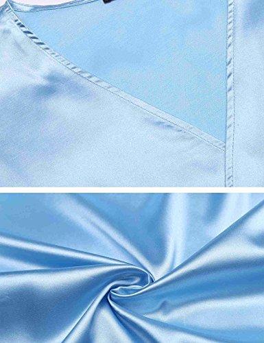 AIMADO Frauen Dessous Satin Kimono Morgenmantel Nachtwäsche Raglanärme Kurzarm V-Ausschnitt Robe Spitzenbesatz Nachthemd mit Gürtel Himmelblau