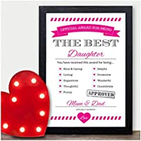 BEST DAUGHTER AWARD PERSONALISED Christmas Gifts Girls Kids Niece Xmas Gifts - PERSONALISED with ANY NAME and ANY RECIPIENT - Black or White Framed A5, A4, A3 Prints or 18mm Wooden Blocks