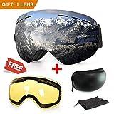 Masque de ski ou snowboard avec traitement anti-buée et protection anti-UV - Verres...